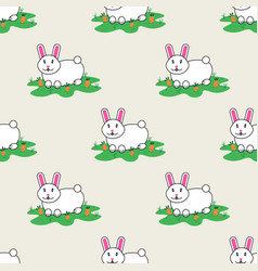 rabbit and carrot hare happy bunny seamless vector image