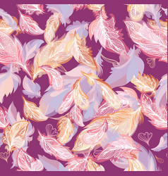 Romantic feather pattern vector