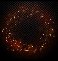 round fire ring circle with sparks vector image