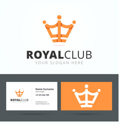 Royal club logo and business card template vector