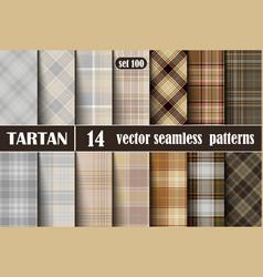 set tartan seamless pattern vector image