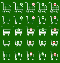 Shopping basket set with green background vector