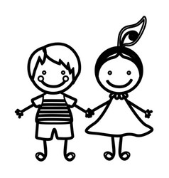 Sketch silhouette couple boy and girl with hair vector