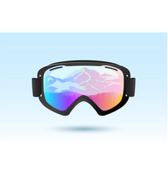 ski or snowboard goggles with reflection vector image