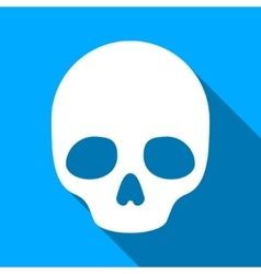 Skull Flat Long Shadow Square Icon vector