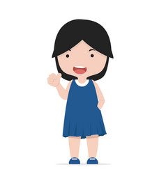 small girl thumbs up character vector image