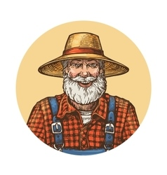 Smiling farmer in straw hat Gardener or beekeeper vector image