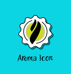 Smoke steam aroma inside star badge icon vector