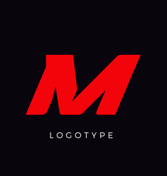 Speed letter m red race monogram logo italic vector