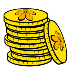 Stacks of gold coins icon icon cartoon vector