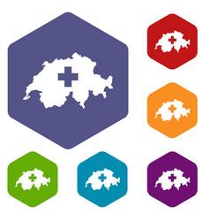 Switzerland map icons set vector