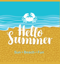 Travel banner with sea beach crab and text vector