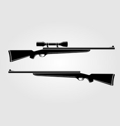 Two rifles isolated on white background vector