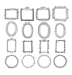 Vintage hand drawn frames in Doodle set of design vector