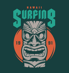vintage hawaii surfing print vector image