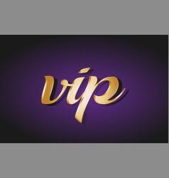 Vip gold golden text postcard banner logo vector