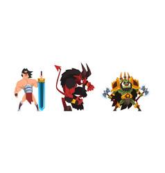 Warlike fantastic magical creature characters set vector