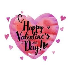 Watercolor heart Valentine Day vector
