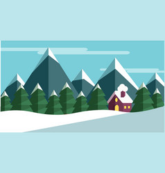 Winter scene with trees and mountains and a cabine vector