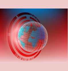 World map red cyber line attack by hacker concept vector
