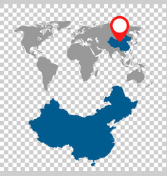 detailed map of china and world map navigation vector image