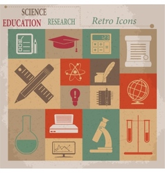 School and Education Flat Retro Icons vector image