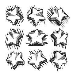 sketch of hand drawn star set vector image