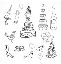 Wedding set of cute hand drawn icons vector image vector image