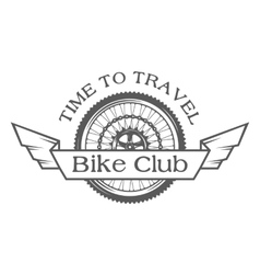 Wheel emblem on the topic of bicycles vector image vector image