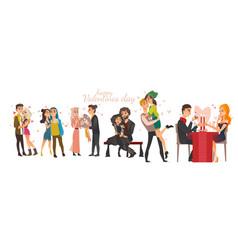 couples in love valentine day celebration set vector image