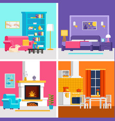 four colorful flat rooms to vector image