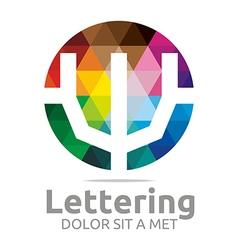lettering w rainbow alphabet icon vector image