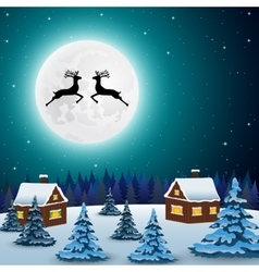 Night christmas forest landscape the tree vector image vector image