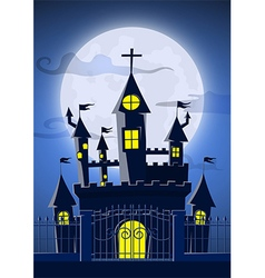 Spooky ghost castle with full moon in background vector image vector image