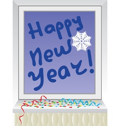 Winter window New Year vector image