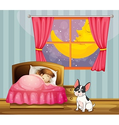 A girl sleeping in her room with a dog vector image