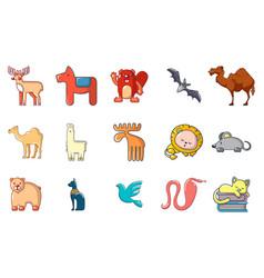 animals icon set cartoon style vector image