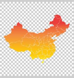 china map colorful orange on isolated background vector image