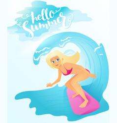 detailed flat blonde surfer vector image