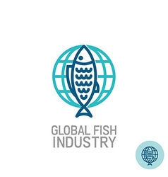 Fish with globe logo vector image vector image