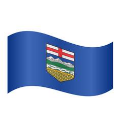 flag of alberta waving on white background vector image