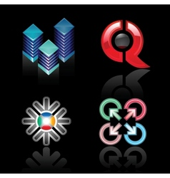 Set emblems on a black background vector image