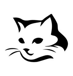 Stylized cat icon on white background vector image