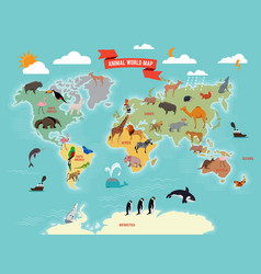 wildlife animals on the world map vector image