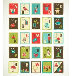 Christmas retro alphabet with cute xmas icons vector image