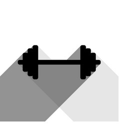 dumbbell weights sign black icon with two vector image