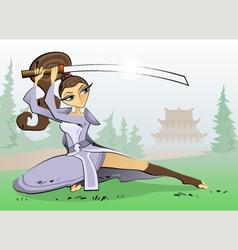 Female Samurai vector image vector image