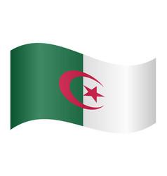 flag of algeria waving on white background vector image