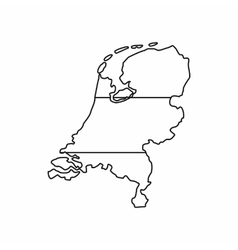 Holland map icon outline style vector image