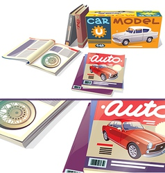 Magazines Books and the Car Model vector image vector image